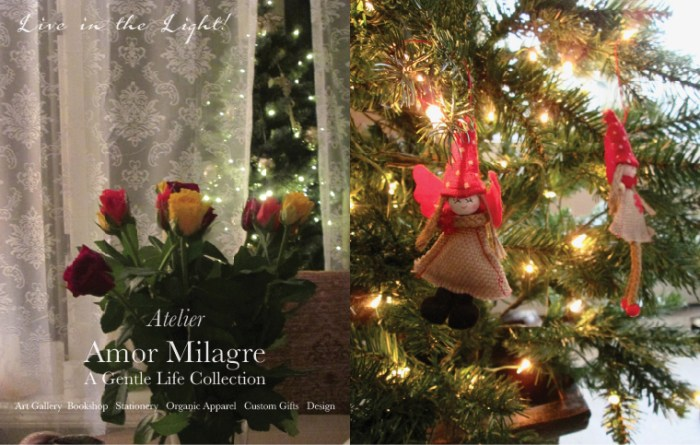 Amor Milagre Christmas Angel Tree Roses About Me Live in the Light! Winter Holiday Decor 2019 Ethical Handmade Gift Shop amormilagre.com