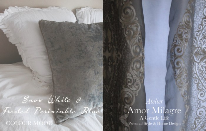 Amor Milagre Goddess Snow White & Frosted Periwinkle Blue Colour Mood Fashion Personal Style Ethical Handmade Gift Shop Art Apparel Baby & Child home interior design master bedroom amormilagre.com