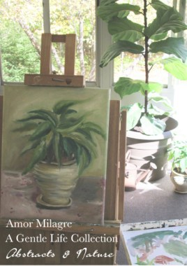 Amor Milagre Sunny Potted Poinsettia Oil Painting, Art Prints, Cards amormilagre.com 1