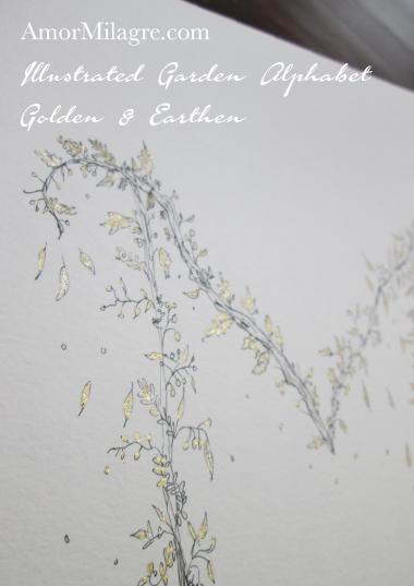 Illustrated Garden Alphabet Letters Custom Golden Amor Milagre 4