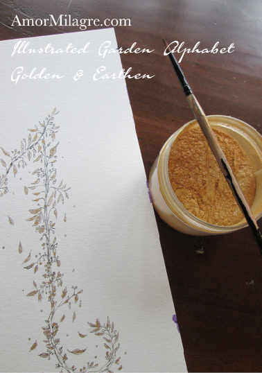 Illustrated Garden Alphabet Letters Custom Golden Amor Milagre 9