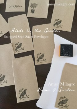 Birds in the Garden Seed Saver Stamped Envelopes Amor Milagre amormilagre.com