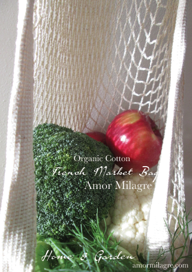 French Market Bag Organic Cotton Groceries Plant-based Gardens Amor Milagre amormilagre.com