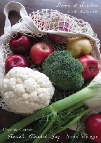 French Market Bag Organic Cotton Groceries Plant-based Gardens Amor Milagre amormilagre.com