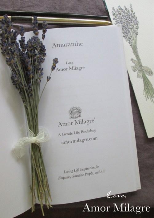 Amaranthe Novel by Amor Milagre Self-Health Book Lavender French NYC Novel amormilagre.com