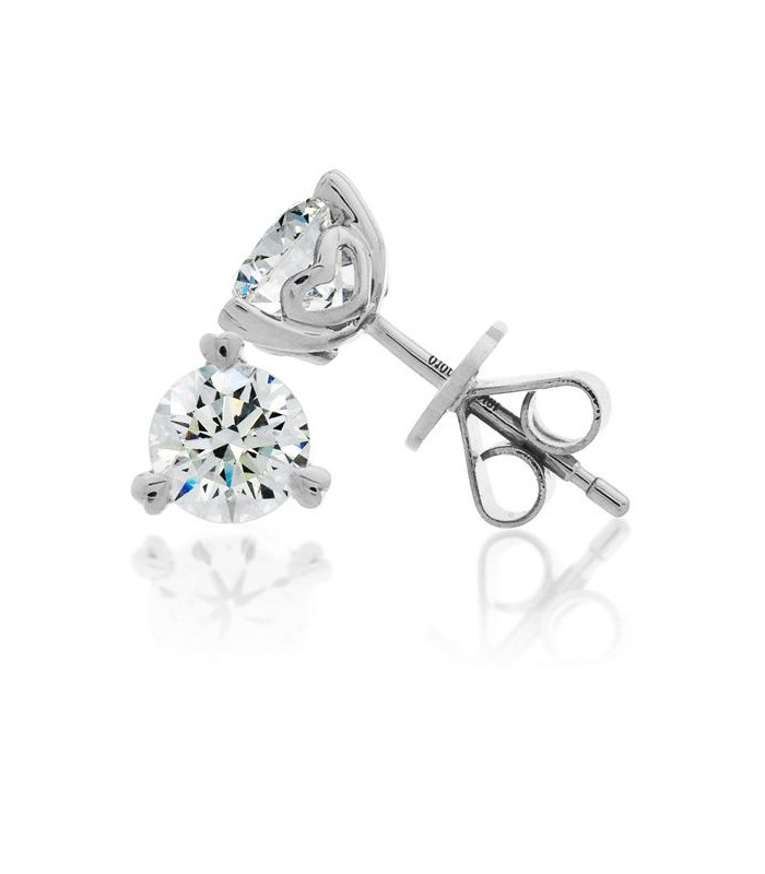 Round Cut 1Ct Eternitymark Diamond Solitaire Earrings 18Kt