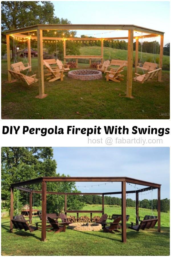 Diy Pergola Firepit With Swings