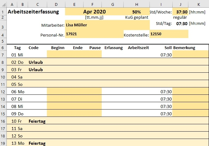 2020 Arbeitszeiterfassung