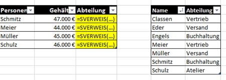 SVERWEIS() zum Erweitern einer Tabelle