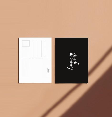 Carte postale love you recto verso