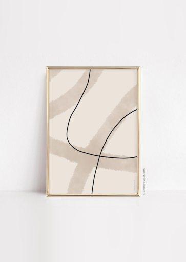 Affiche Lines art brown à imprimer
