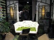 Kirsten VanDijk Interiors: mossy loveseat, laptop, lamps