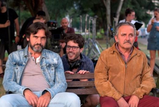 Pedro Sancho xunto a Francisco José Paredes e Antonio Durán 'Morris' na rodaxe
