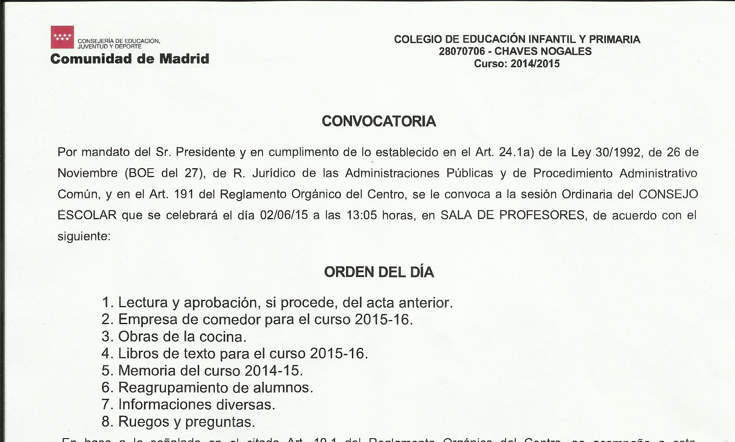 Convocatoria Consejo Escolar el 2 de junio de 2015 a las