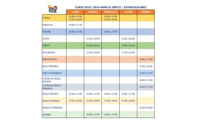 Calendario Extraescolares 2018 – 2019