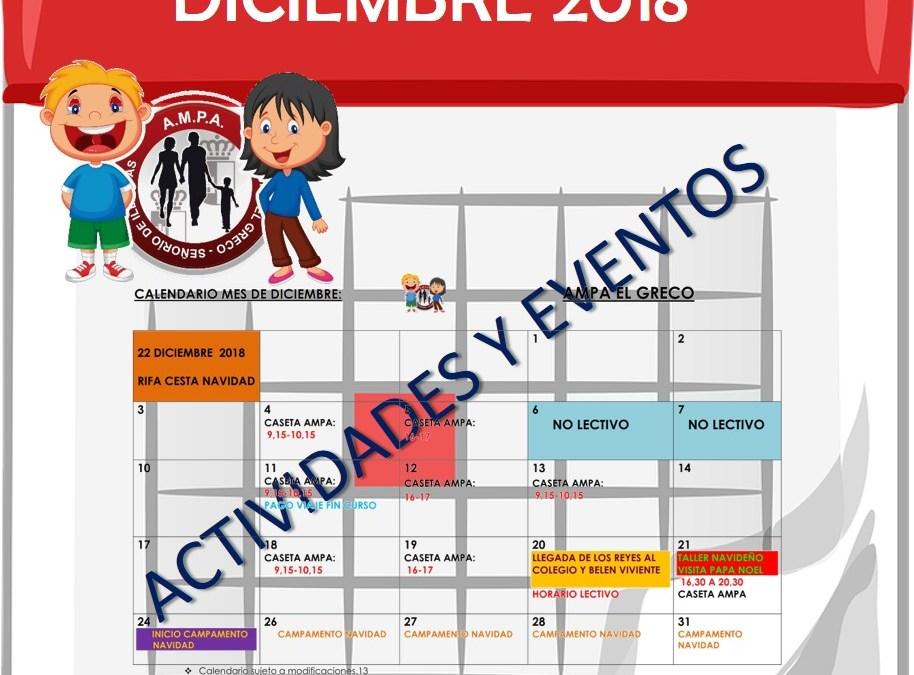 Calendario Diciembre 2018