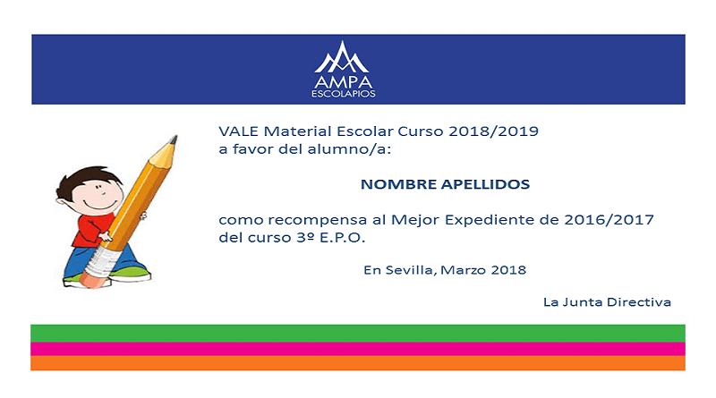 Vale Material Escolar Curso 2018-2019