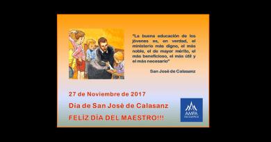 Felicitación del Maestro en el Día de San José de Calasanz