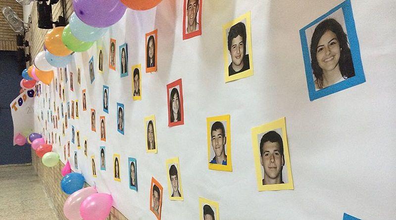 Primer plano de una pared llena de globos y fotografías de los alumnos del colegio Escolapios Calasancio Hispalense., celebrando la Despedida de 4 ESO