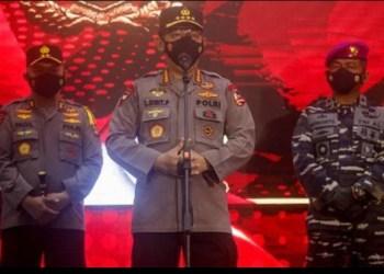 Kapolri Jenderal Listyo Sigit Prabowo memimpin upacara Korps Raport atau kenaikan pangkat setingkat lebih tinggi terhadap 26 perwira tinggi Polri, Selasa (10/8/2021). (Foto: MNC Portal Indonesia)