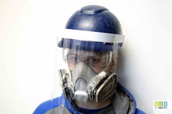 Face shields for construction helmets