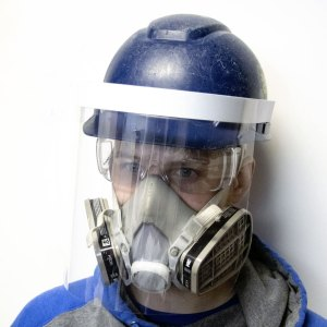 Face shields for construction helmets