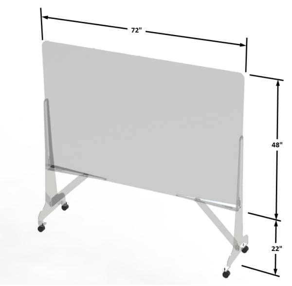 Protection hygiénique autoportante à roulette en acrylique 1/4 (Plexiglass)