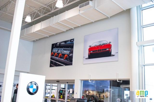 SEG fabric frame in car dealership