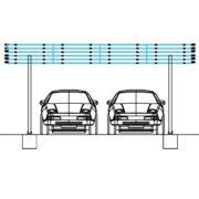 Copertina auto din structura de aluminiu pentru 20 Panouri Fotovoltaice | Compass SRL | Chisinau | Moldova