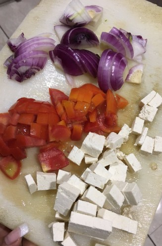 Chopped tomatoes, onions and tofu