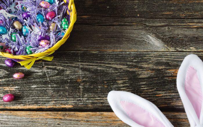 easter chocolates alongside easter bunny ears