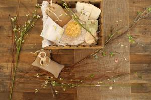 Basket with beauty products