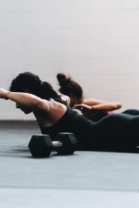 Women working out on mats