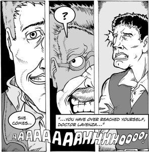 Panel from 'Despair' by Mark Hobby (writer) and Nick Skeer (artist)