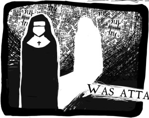 Panel from 'Nun Limerick' by Catherine Brittle (writer) and Loren Morris (artist)
