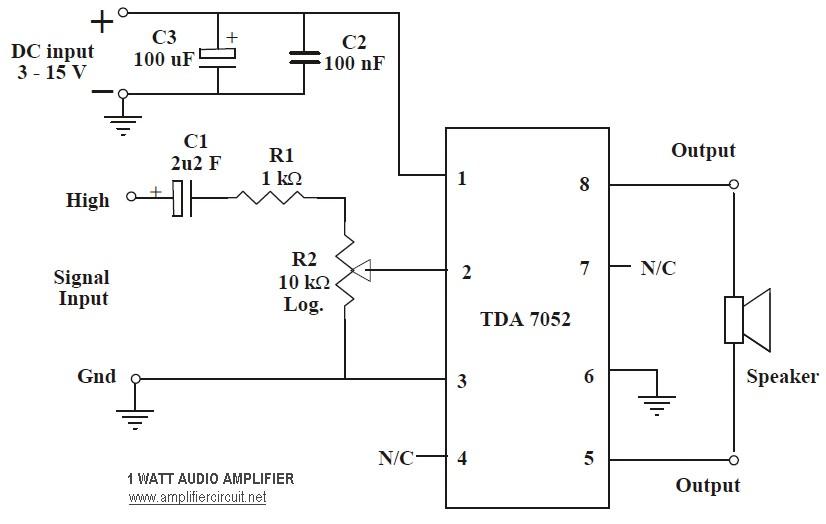 1w audio amplifier circuit based TDA7052