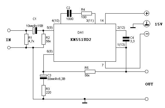 microphone amplifier using km551ud2