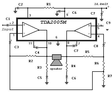 20 watt power amplifier based tda2005 amplifier circuit design rh amplifiercircuit net Car Amplifier Wiring Diagram Subwoofer Amplifier Circuit