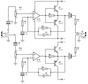 Low Power Amplifier 2x100 mW with TL082