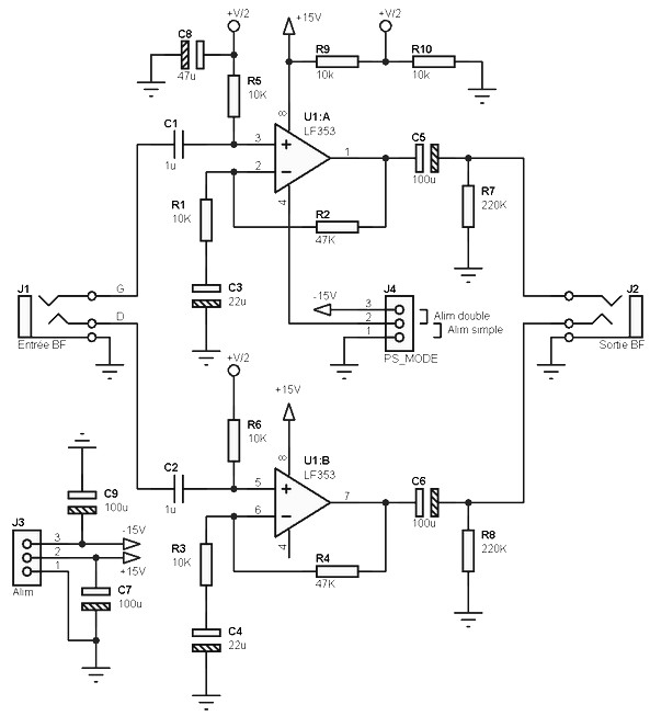 asymetric pre amp scheme for single or dual power supply amplifierasymetric pre amp scheme for single or dual power