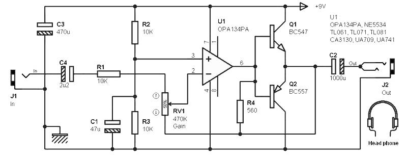 2x50 mw stereo headphone amplifier amplifier circuit design