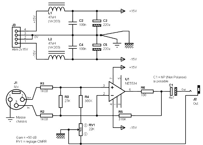Mono preamp based on a NE5534