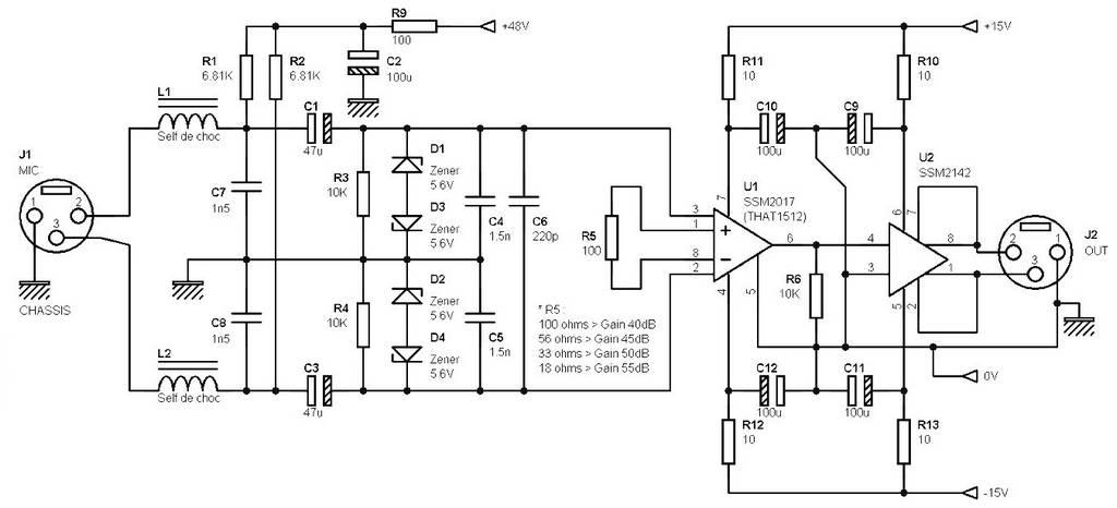 phantom power preamp schematic