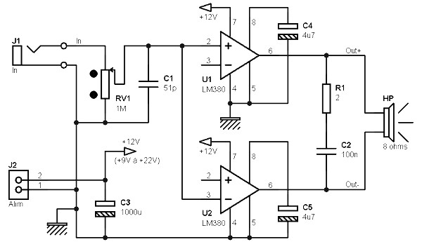 5w    8 ohms bridge amplifier based on two lm380s