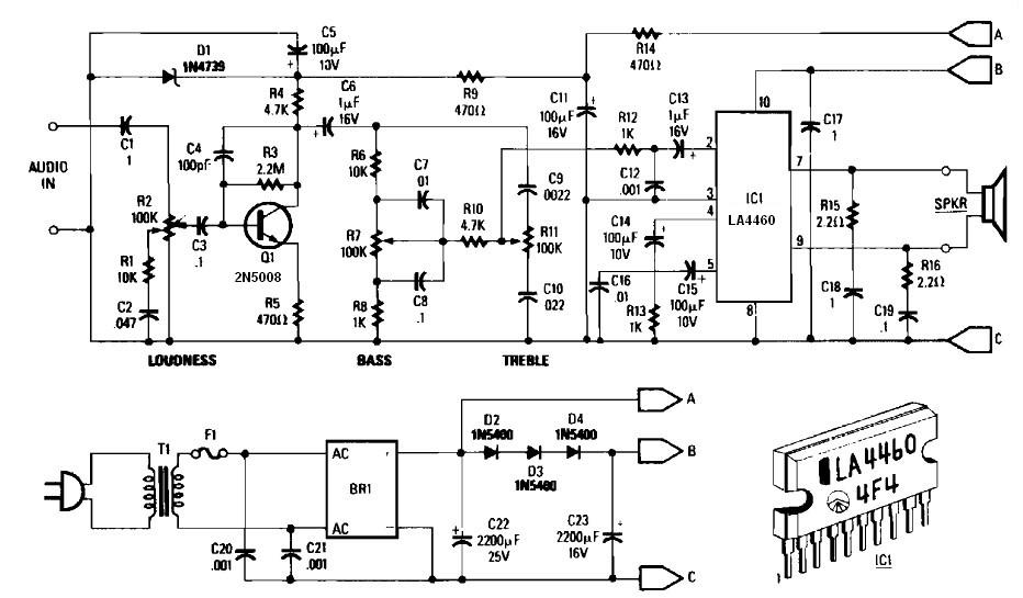 5 W audio amplifier schematic