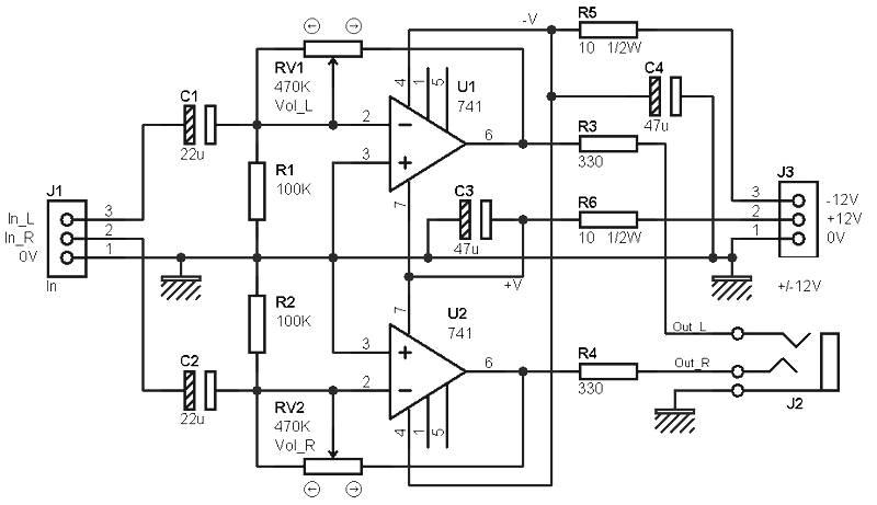 headphones amplifier based lm741 amplifier circuit designheadphones amplifier based 741