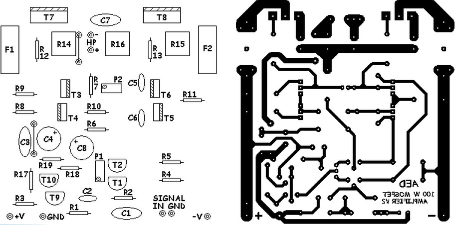 mosfet amplifier pcb layout