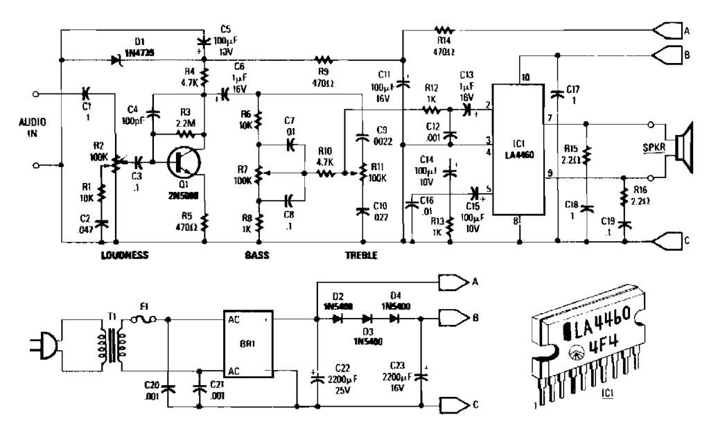 5 watt amplifier circuit diagram