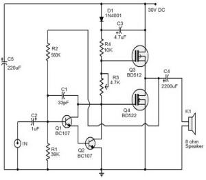 10 watts Mosfet Audio Amplifier - Amplifier Circuit Design