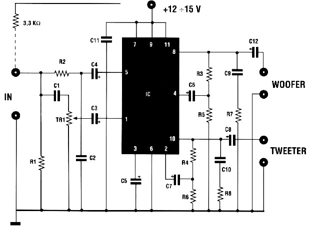 Circuit 150w Amplifier With Active Crossover Circuitschematic